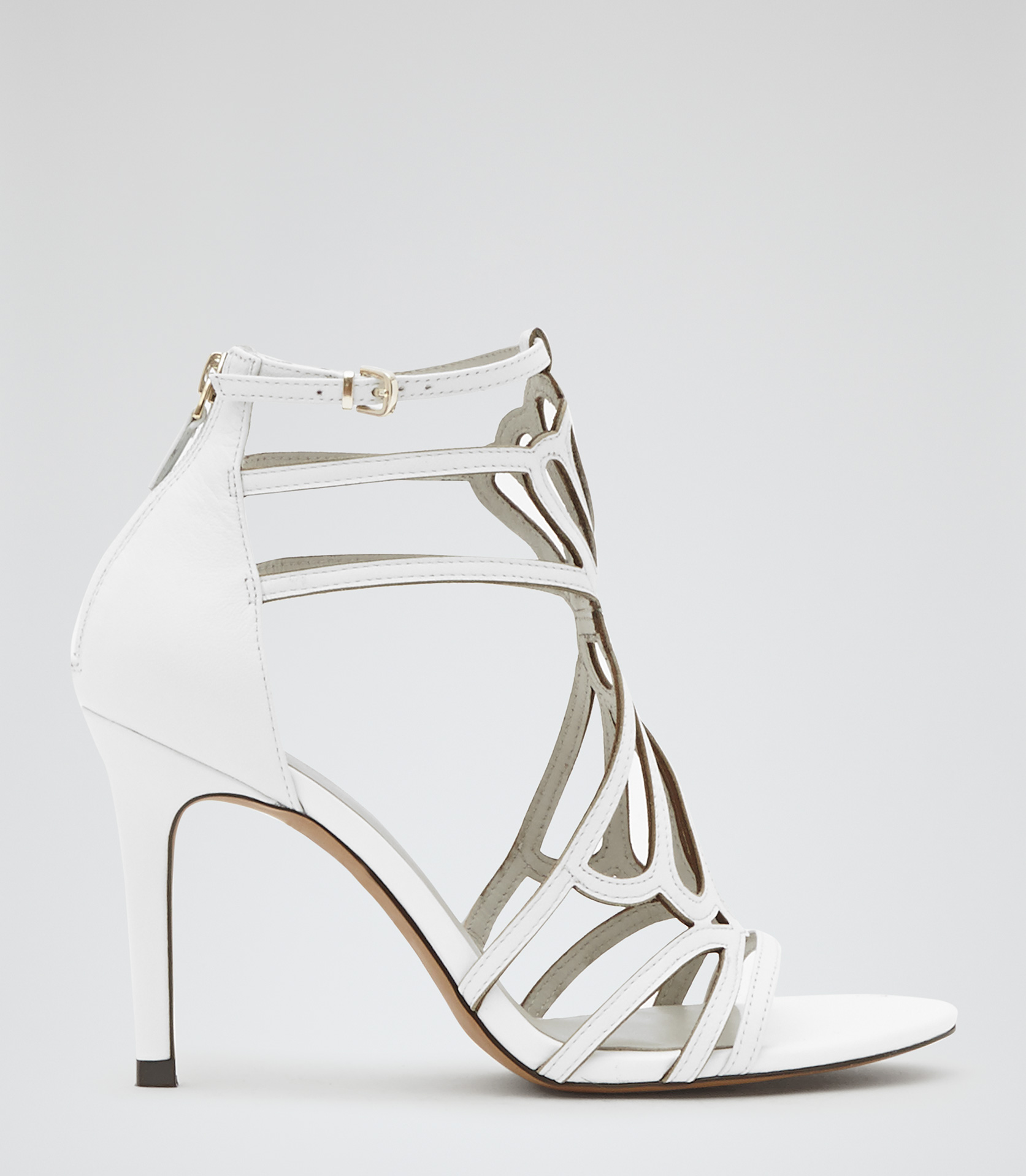 Hayden Off White Cut Out High Sandals - REISS
