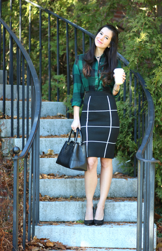 diary of a debutante blogger shirt skirt shoes bag jewels green shirt plaid shirt pencil skirt black skirt handbag black bag high heel pumps black heels