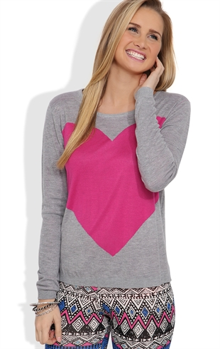 Long Sleeve Sweater with Heart Screen