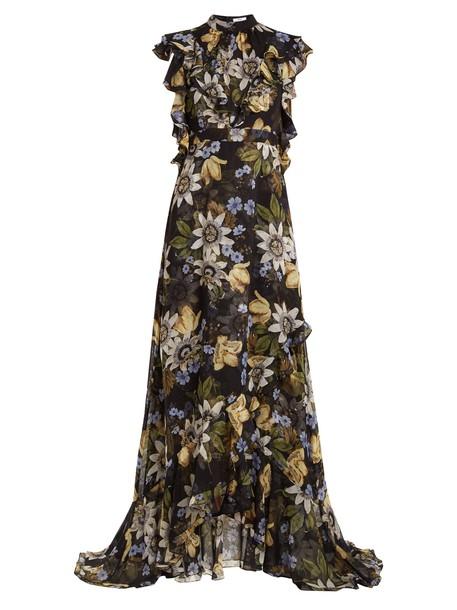 Erdem gown ruffle print silk black dress