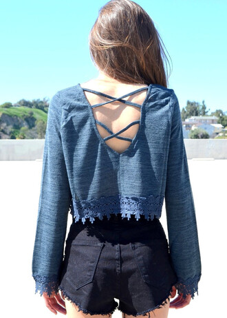 top backless back cutout teal lace