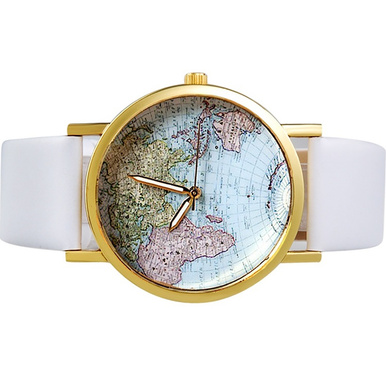 Retro world map watch in white