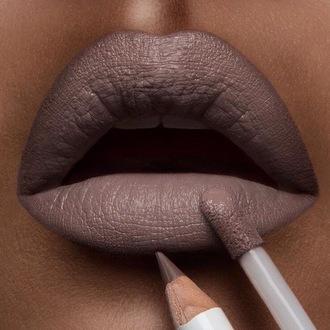 make-up lips grey lipstick lip gloss lip liner cosmetics
