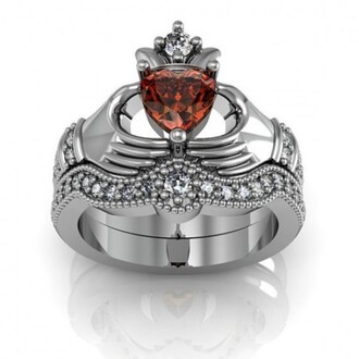 jewels red ruby ring set claddagh ring set heart natural garnet claddagh ring / engagement ring set - 18k platinum plated sterling silver silver bridal ring set claddagh wedding ring set evolees.com