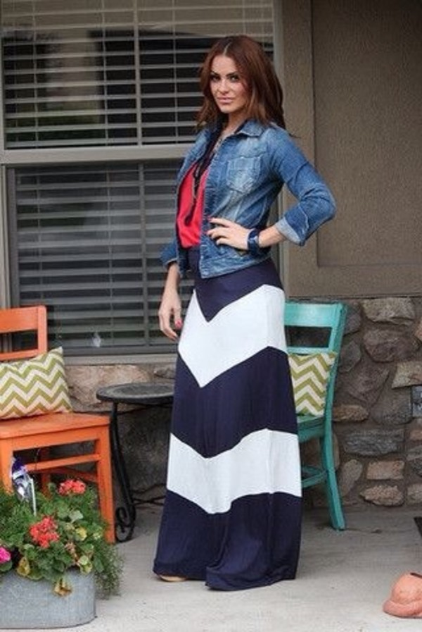 skirt maxi skirt chevron