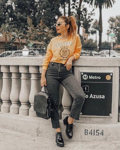 top crop tops sweatshirt sunglasses denim jeans black jeans backpack black backpack shoes black shoes