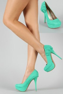 Buy Shoehorne Neutral-388 - Womens Sea Green Suede Ruffled Bow Back Stiletto High Heel Platforms Court Shoes - Ladies Shoe Size 3-8 UK in Cheap Price on Alibaba.com