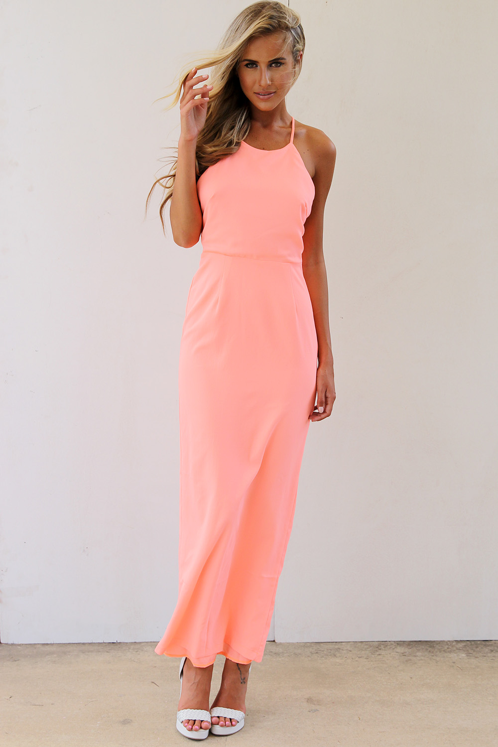 Longer Lengths Dress - Neon Peach Maxi Dress with | UsTrendy