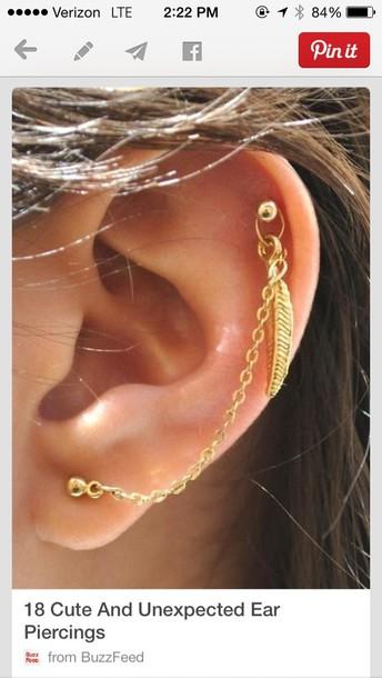 jewels feathers chain earring jewelry earrings ear cuff boho bohemian boho jewelry