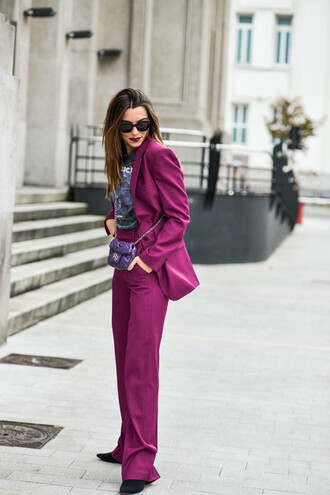pants tumblr purple wide-leg pants blazer purple blazer t-shirt graphic tee sunglasses matching set
