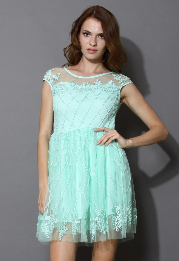 chicwish baroque fantasy mint embossment mesh dress