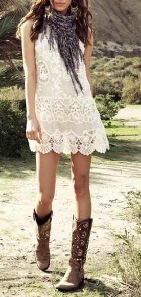 boho dress boots white dress country outfit country scarf lace