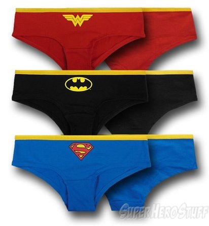 Dc symbols women's hipsters 3 pack briefs