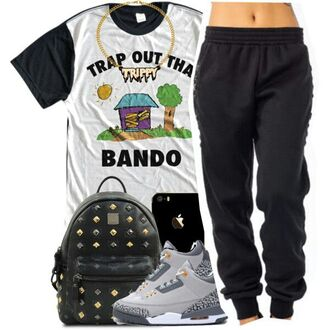 t-shirt trippy trap out the bando white black pants shirt trap