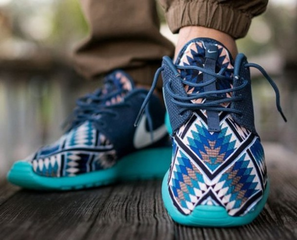 reputable site 7e335 7c6a1 hot custom made nike roshe runs f8341 06866  promo code for nike shoes with  blue aztec print bfb1b 93a29