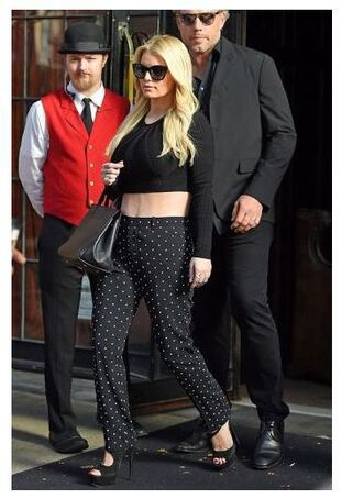 pants top polka dots crop tops jessica simpson all black everything sandals sandal heels shoes straight pants