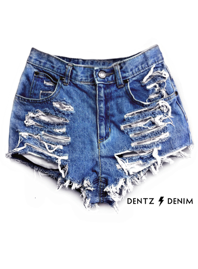 high waisted denim shredded shorts | Dentz Denim