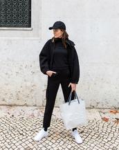 jacket,tumblr,black jacket,hat,cap,top,black top,pants,black pants,bag,sneakers,white sneakers,athleisure