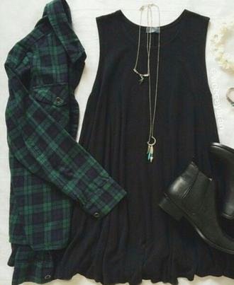 dress little black dress chelsea boots necklace flannel shirt shoes top jewels