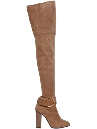 over the knee boots suede tan shoes