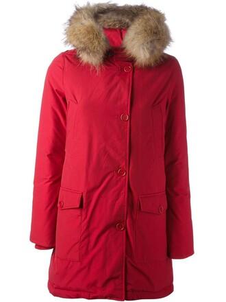 parka women red coat