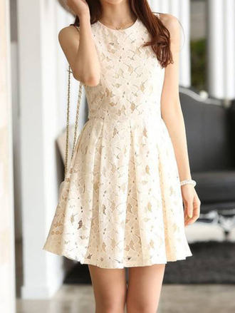 dress lace white summer fashion spring romantic summer dress gamiss