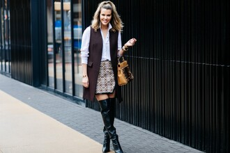 the courtney kerr blogger jacket shirt skirt shoes bag jewels