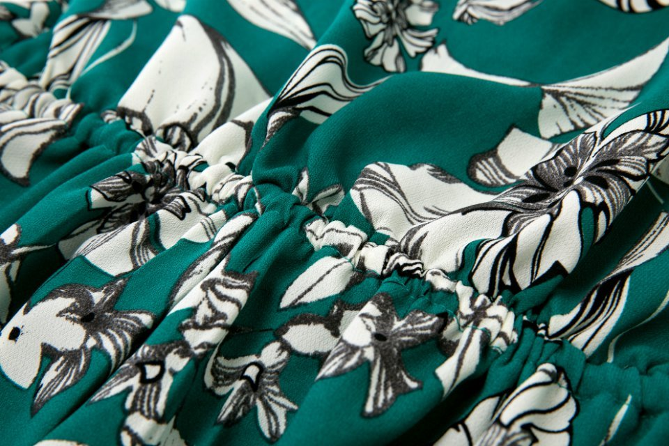 Green Half Sleeve Floral Drawstring Jumpsuit - Sheinside.com