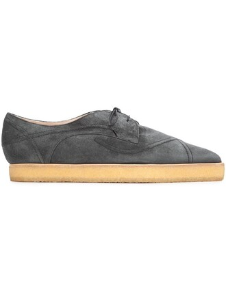 women shoes leather suede grey