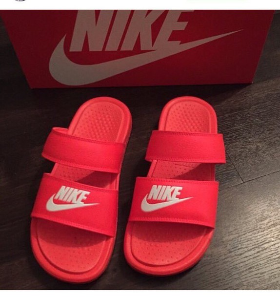 shoes nike nike slides slide shoes red red nike slides red shoes pink pink slippers red sandals strap sandles pink shoes flats nike shoes