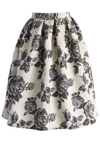 midi skirt chicwish glowing rose print beige skirt