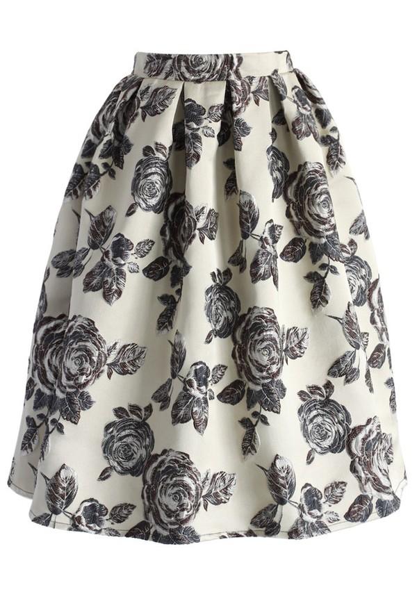 chicwish glowing rose print midi skirt beige skirt