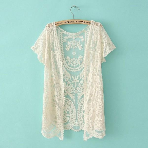Cardigan: lace, white, white lace, cream, cream lace, kimono, lace ...