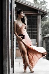 dress,tumblr,nude,nude dress,maxi dress,slit dress,slip dress,long dress,spaghetti strap,clutch,sandals,sandal heels,high heel sandals,white sandals,pom poms,model