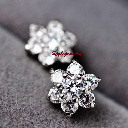 White Gold GF Diamontic Swarovski Crystal Bridal Silver Flower Stud ... 5c60a848f