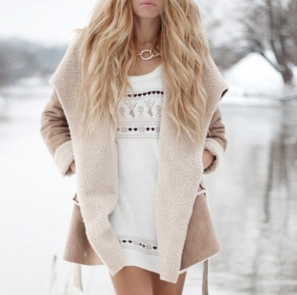 jumper beige winter winter sweater pretty autumn, winter autumn outfit coat missguided tan brown fairisle christmas blogger bloggers fashion blogger fur faux fur jacket faux fur coat furry faux fur shearling shearling jacket camel jacket camel brown coat brown jacket waterfall waterfall jacket winter coat winter jacket winter sweaters autumn style jumper dress dress beige dress christmas sweater christmas jumper romwe blonde blonde hair blonde girl ombre
