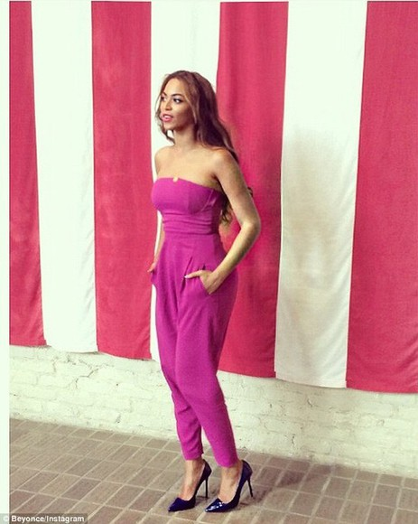 jumpsuit pretty in pink beyoncé heels, pumps, red, shoes, high heels, blue ivy Jay Z mrs carter