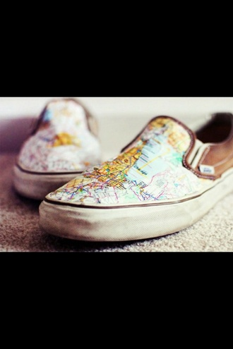shoes vans atlas map step light blue blue blue shoes brown shoes leather brown leather flatforms brown leather map print