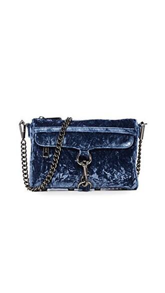 mini crushed velvet bag velvet blue