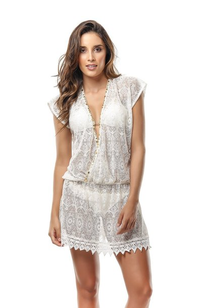 dress white white dress white top cover up white swimwear lace beach perfect as a bridal gift paradizia one size