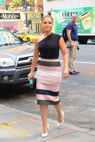 skirt stripes strappy striped skirt sophia bush pumps top asymmetrical top asymmetrical