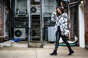 the material girl,blogger,jacket,top,leggings,shoes,bag,make-up,winter outfits,fur coat