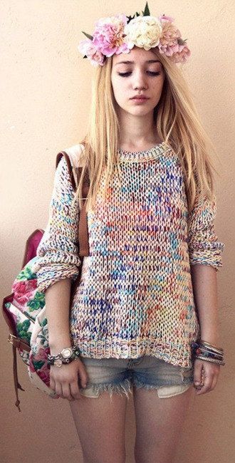 colorful beautiful shorts flower crown sweater girly hair accessory bag aksinya air ukraine cardigan