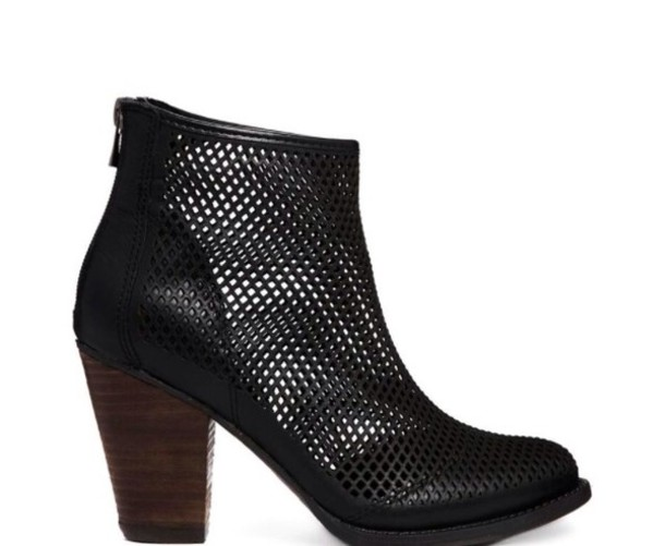 shoes leather mesh heel boot see through haute couture classy black