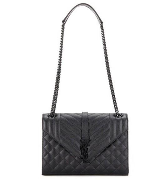 Saint Laurent Medium Tri-quilt Monogram Leather Shoulder Bag in black