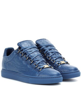 sneakers leather blue shoes
