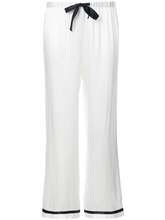 women moon white silk pants