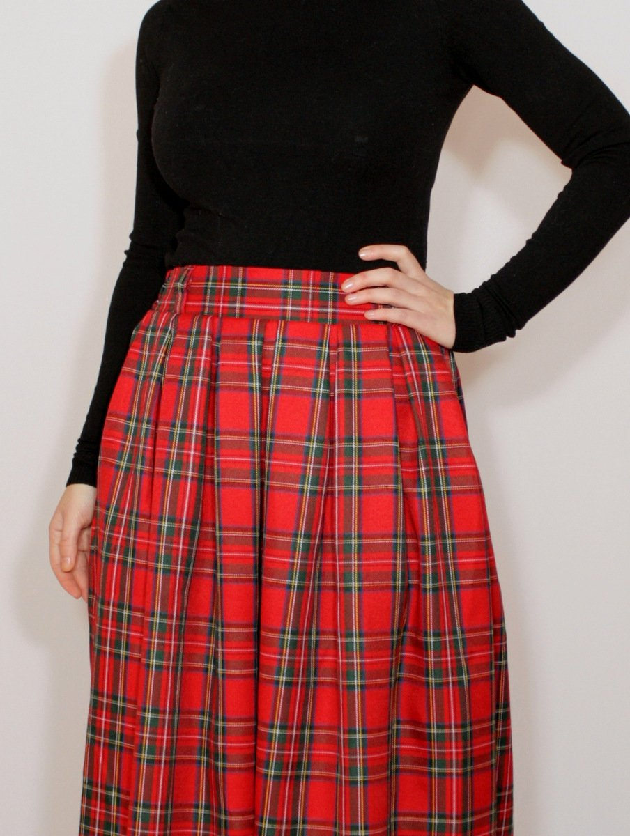 Red tartan maxi skirt Red long plaid skirt Red wool maxi skirt with pockets Red pleated skirt