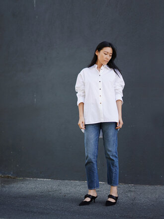 shoes black shoes tumblr mules shirt white shirt denim jeans blue jeans cropped jeans