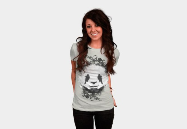 shirt flourishes black and white panda top ornaments animal tshirt women's t-shirt mens t-shirt splatter paint collage tshirt cute panda